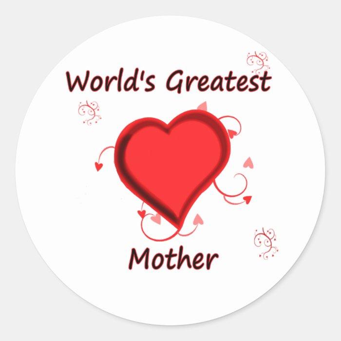 World's Greatest mother Classic Round Sticker