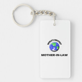 World's Greatest Mother-In-Law Single-Sided Rectangular Acrylic Keychain