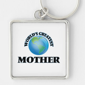 World's Greatest Mother Silver-Colored Square Keychain