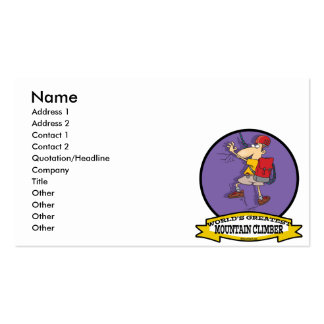 WORLDS GREATEST MOUNTAIN CLIMBER CARTOON Double-Sided STANDARD BUSINESS CARDS (Pack OF 100)