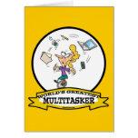 WORLDS GREATEST MULTI-TASKER WOMEN CARTOON GREETING CARD