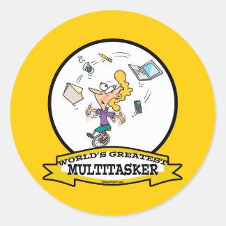 WORLDS GREATEST MULTI-TASKER WOMEN CARTOON CLASSIC ROUND STICKER