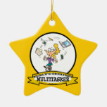 WORLDS GREATEST MULTI-TASKER WOMEN CARTOON Double-Sided STAR CERAMIC CHRISTMAS ORNAMENT