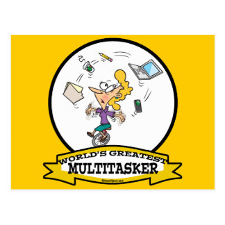 WORLDS GREATEST MULTI-TASKER WOMEN CARTOON POSTCARD