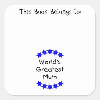 World's Greatest Mum (blue stars) Square Stickers