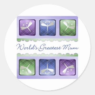World's Greatest Mum (dragonflies) Round Sticker