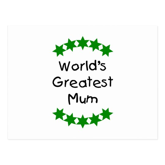 World's Greatest Mum (green stars) Postcard