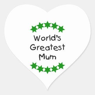 World's Greatest Mum (green stars) Heart Stickers