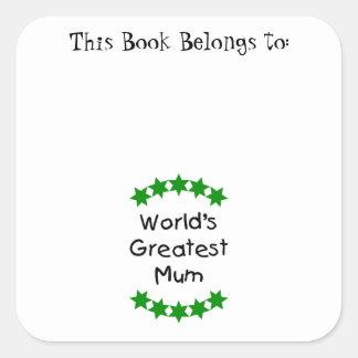 World's Greatest Mum (green stars) Square Stickers