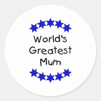 World's Greatest Mum (navy stars) Round Sticker