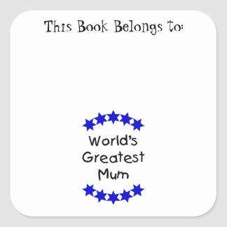 World's Greatest Mum (navy stars) Square Sticker