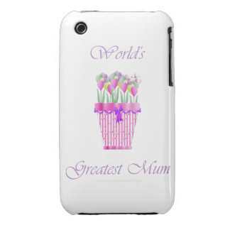 World's Greatest Mum (pink flowers) iPhone 3 Case-Mate Case