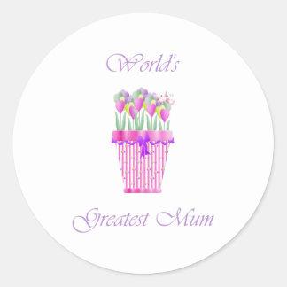 World's Greatest Mum (pink flowers) Round Sticker