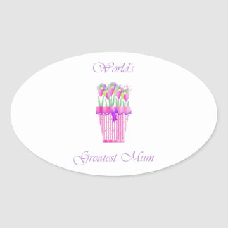 World's Greatest Mum (pink flowers) Oval Sticker