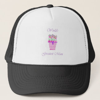 World's Greatest Mum (pink flowers) Trucker Hat