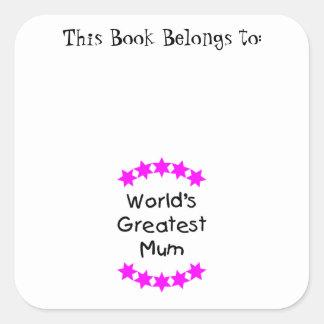 World's Greatest Mum (pink stars) Square Sticker
