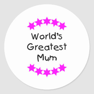 World's Greatest Mum (pink stars) Stickers
