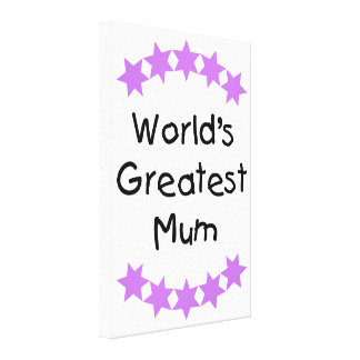 World's Greatest Mum (purple stars) Canvas Print