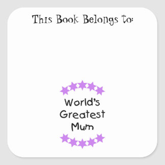 World's Greatest Mum (purple stars) Square Sticker