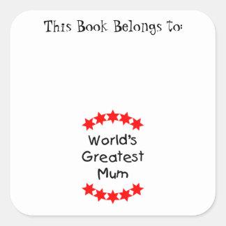 World's Greatest Mum (red stars) Stickers