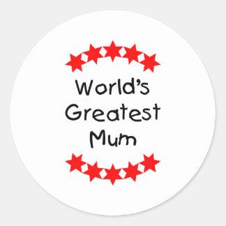 World's Greatest Mum (red stars) Round Stickers