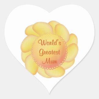 World's Greatest Mum (yellow flower) Stickers