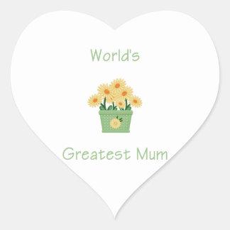 World's Greatest Mum (yellow flowers) Sticker