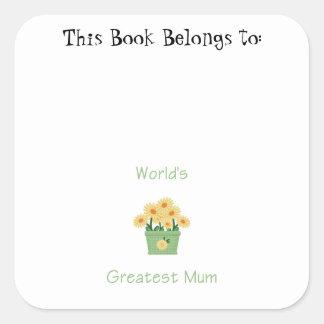 World's Greatest Mum (yellow flowers) Stickers