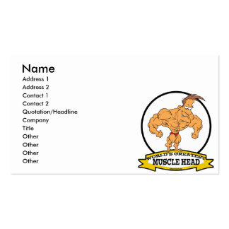 WORLDS GREATEST MUSCLE HEAD MEN CARTOON Double-Sided STANDARD BUSINESS CARDS (Pack OF 100)