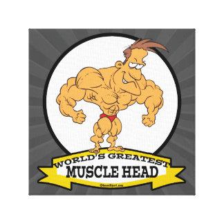 WORLDS GREATEST MUSCLE HEAD MEN CARTOON CANVAS PRINT