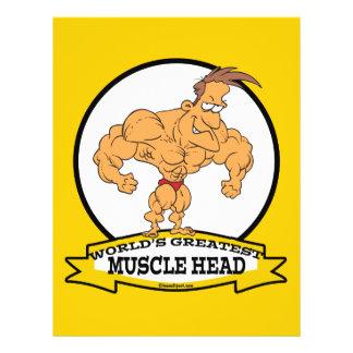 WORLDS GREATEST MUSCLE HEAD MEN CARTOON PERSONALIZED FLYER