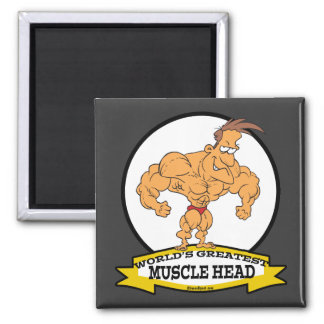 WORLDS GREATEST MUSCLE HEAD MEN CARTOON 2 INCH SQUARE MAGNET