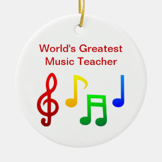 Worlds Greatest Music Teacher Christmas Tree Ornaments