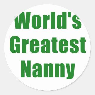 Worlds Greatest Nanny Classic Round Sticker