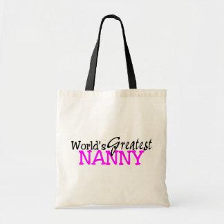 Worlds Greatest Nanny Pink Black Tote Bag