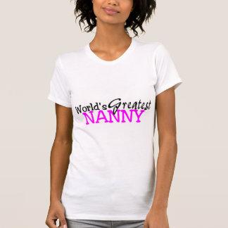 Worlds Greatest Nanny Pink Black Tee Shirt