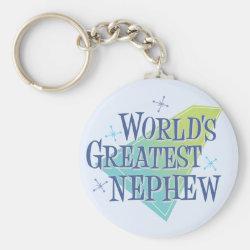 Basic Button Keychain with World's Greatest Nephew design