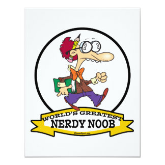 WORLDS GREATEST NERDY NOOB GUY CARTOON 4.25X5.5 PAPER INVITATION CARD