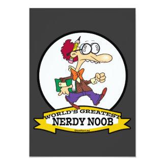 WORLDS GREATEST NERDY NOOB GUY CARTOON 5X7 PAPER INVITATION CARD