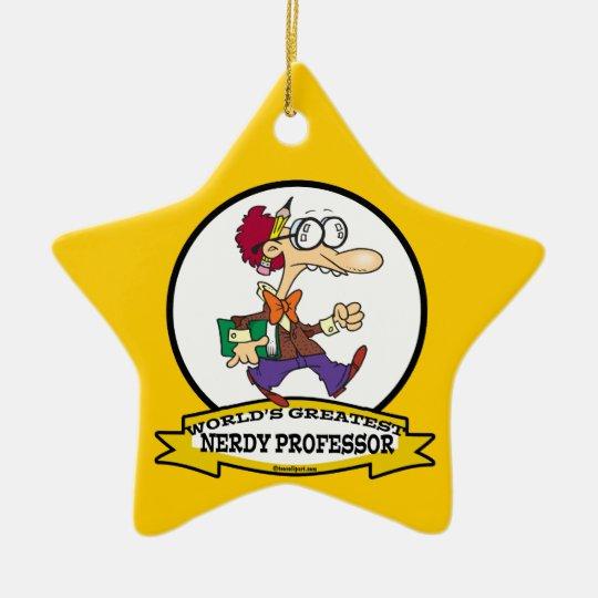 WORLDS GREATEST NERDY PROFESSOR CARTOON CERAMIC ORNAMENT