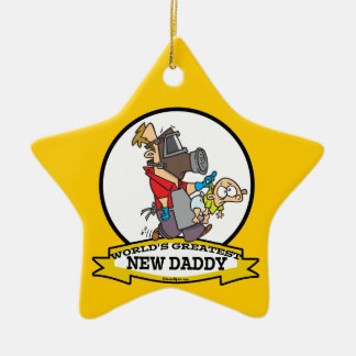 WORLDS GREATEST NEW DADDY MEN CARTOON Double-Sided STAR CERAMIC CHRISTMAS ORNAMENT