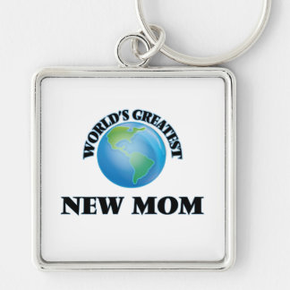 World's Greatest New Mom Silver-Colored Square Keychain