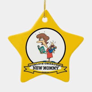 WORLDS GREATEST NEW MOMMY CARTOON CERAMIC ORNAMENT