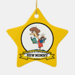 WORLDS GREATEST NEW MOMMY CARTOON Double-Sided STAR CERAMIC CHRISTMAS ORNAMENT