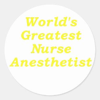 Worlds Greatest Nurse Anesthetist Classic Round Sticker