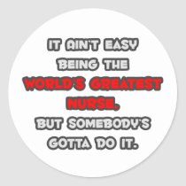 World's Greatest Nurse Joke Classic Round Sticker