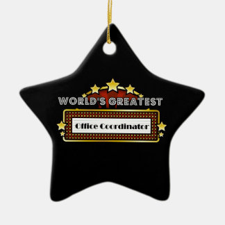World's Greatest Office Coordinator Double-Sided Star Ceramic Christmas Ornament