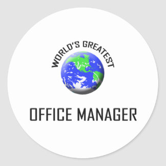 World's Greatest Office Manager Classic Round Sticker