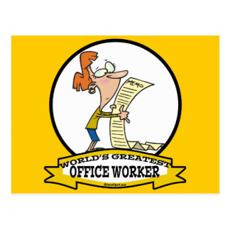 WORLDS GREATEST OFFICE WORKER WOMEN CARTOON POSTCARD