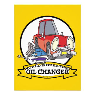 WORLDS GREATEST OIL CHANGER MEN CARTOON FLYER